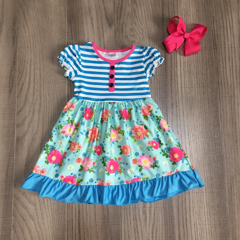 Summer baby girls dress blue navy florla flower stripe children clothes boutique milk silk knee length match accessory bow