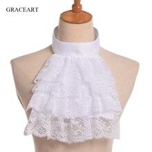 Vintage estilo francês destacável pescoço gola ruff victorian rendas babados jabot pirata cosplay acessório branco preto