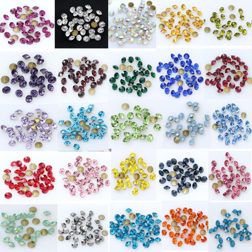 144p SS9-SS16mm Rivoli Tschechische kristall Alle 36 Farben perlen spitz zurück Runde perle Strass Glitter Für Schmuck Nagel, Der DIY