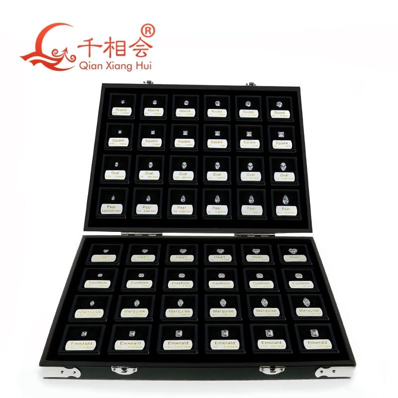 new box 8 shapes of cubic zirconia loose 1-5 carat weight size set display tools box   diamond tester master set