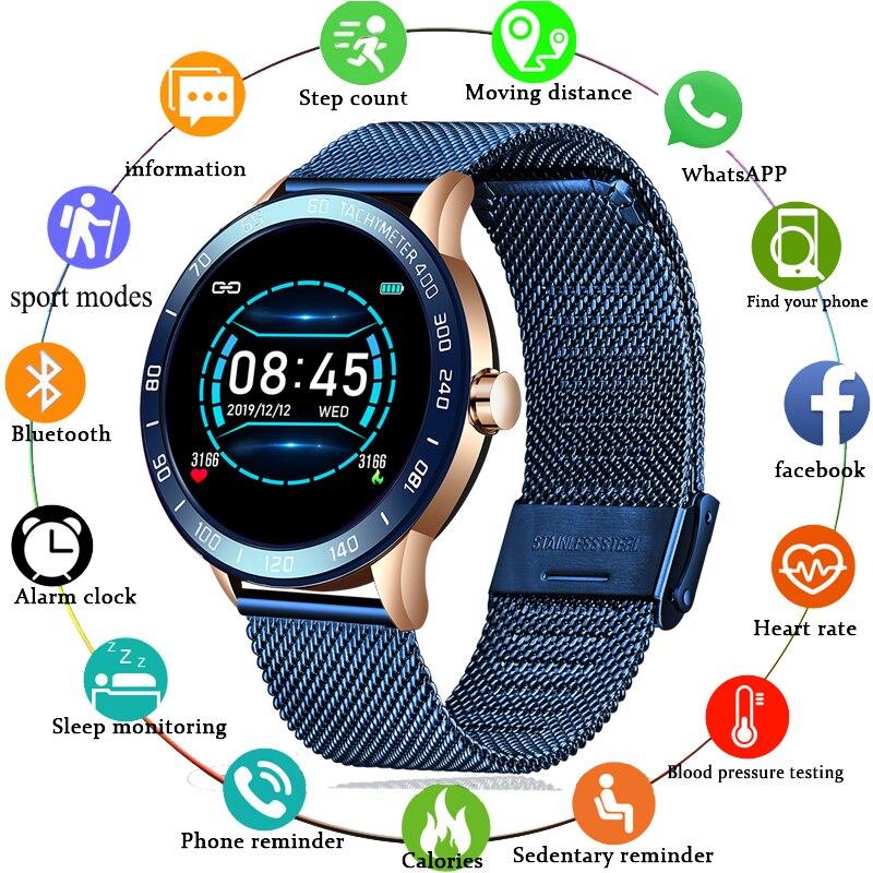 Reloj inteligente LIGE Fitness para hombres, para correr, para ritmo cardíaco, Monitor de presión arterial, podómetro Bluetooth, Reloj deportivo inteligente táctil