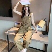 Casual Loose Cargo Woman Pants High Waist Rompers Women Army Green Wide Leg Jumpsuit Streetwear Trou