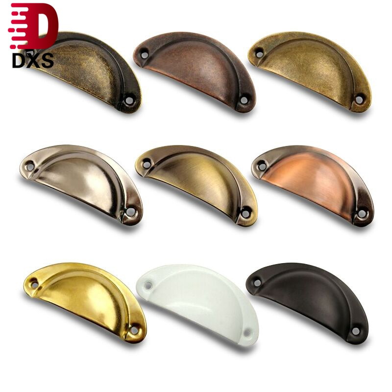 Dxs 2 pçs retro metal cozinha gaveta do armário maçaneta da porta e móveis puxadores de mão armário de bronze antigo concha puxar alças