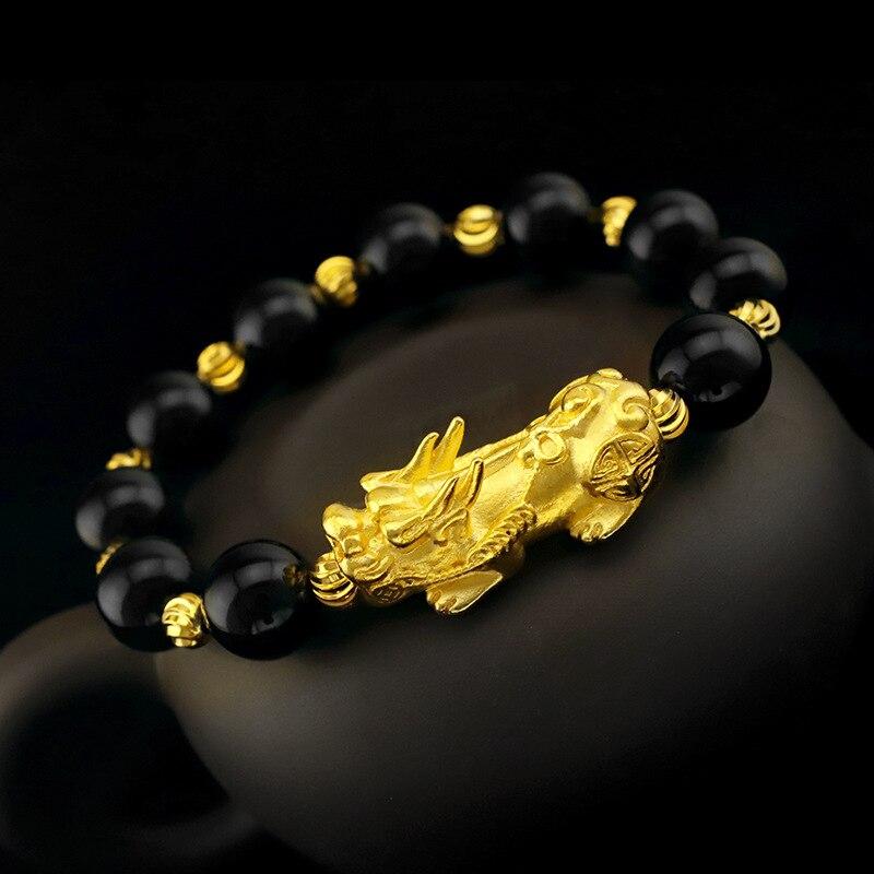 Brazalete con amuleto de la suerte y Latón chapado en oro, brazalete para hombre y mujer, brazalete de ágata roja negra, brazalete para pareja