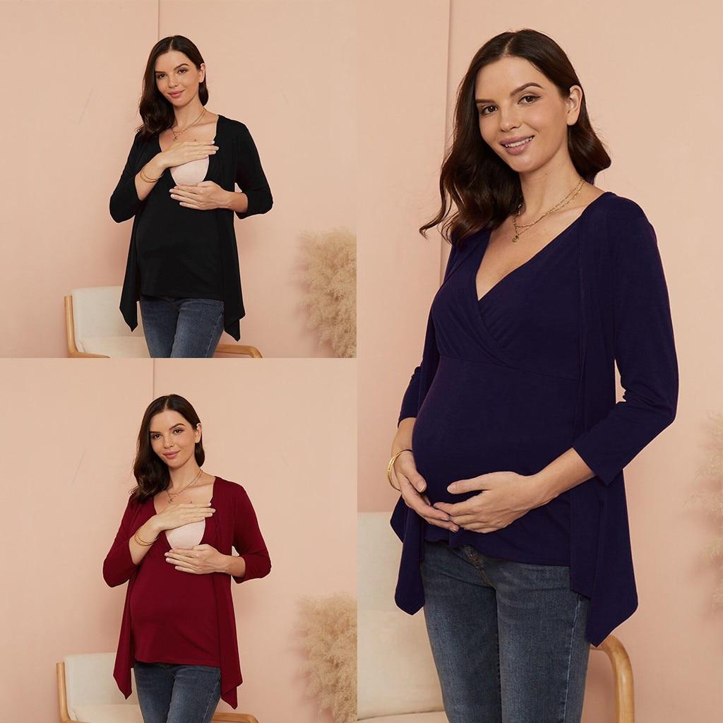 Pregnancy Clothes Women Maternity Shirts Long Sleeve Solid Color Nursing Tops T-shirt For Breastfeeding для беременных Dropship