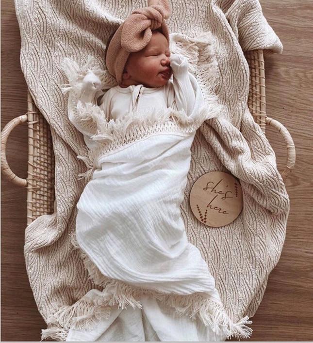 Muslin Cotton Baby Blanket Fringe 2 Layer Newborn Tassel Blankets Swaddle Warp Bed Baby Photography Props Newborn Bath Towel
