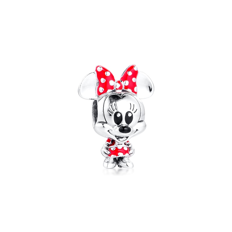 Mouse, vestido de puntos y colgante para moño, se adapta a pulseras originales, cuentas de mujer DIY para hacer joyas, Plata kralen voor sieraden maken