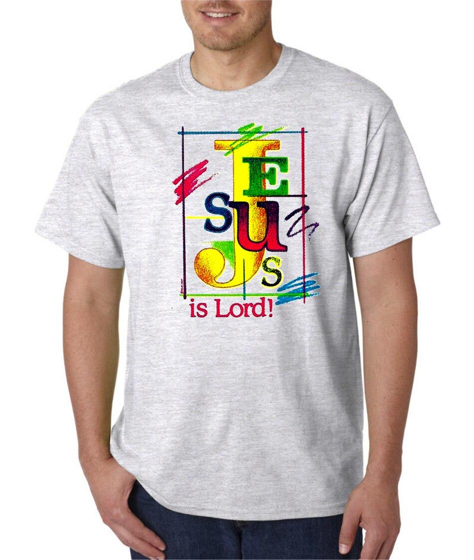 Camiseta de manga corta cristiana Jesús es señor al aire libre