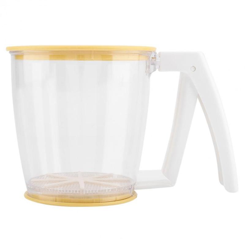 Taza de mano tamiz de harina colador de polvo tamiz de malla suministros para hornear herramientas con tapa tamiz de harina