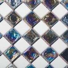 Arcobaleno inrdescent mattonelle di mosaico di vetro mix pure mattonelle di marmo della cucina backsplash