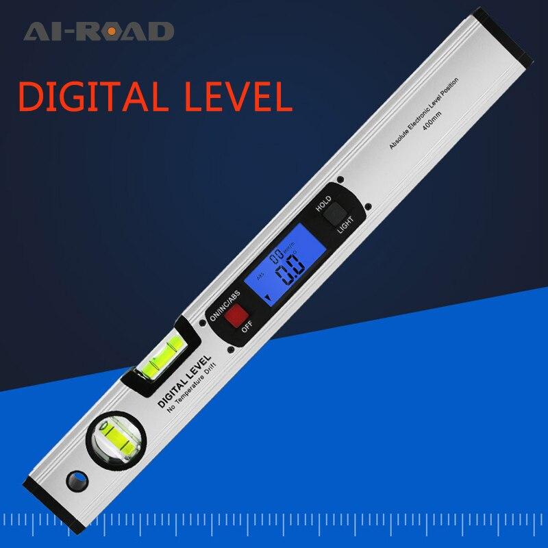 Instrumento de medición de ángulo Digital transportador medidor de inclinación nivel electrónico regla de prueba de inclinación de nivel de 360 grados 400mm 1 ud.