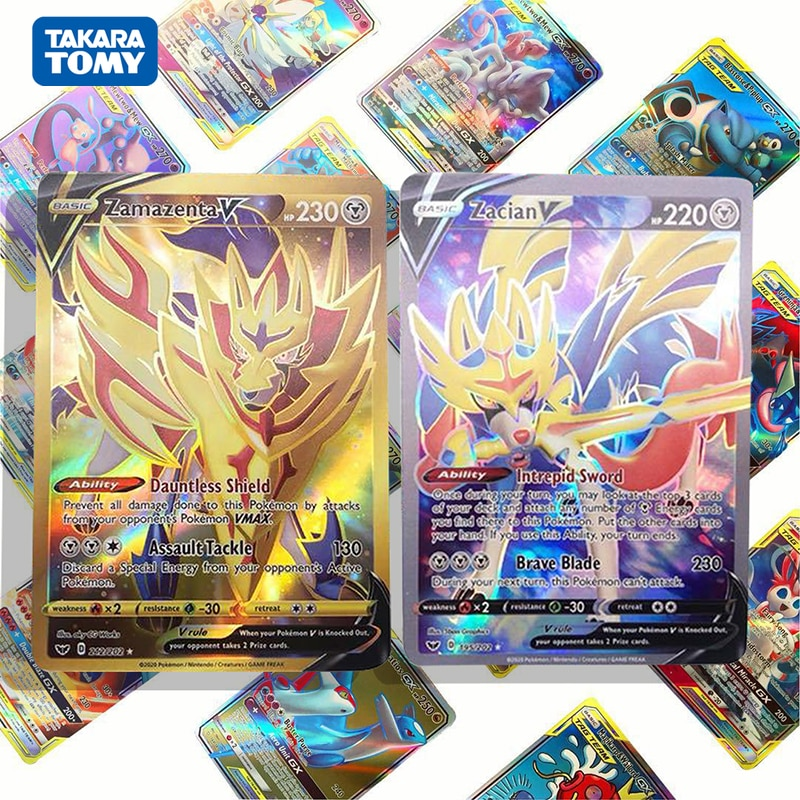TOMY Pokemon Cards 64 Pcs No Repeat Pokemons Sword and Shield GX Games Anime Shining Battle Cards French Pokemon Card Kids Toys