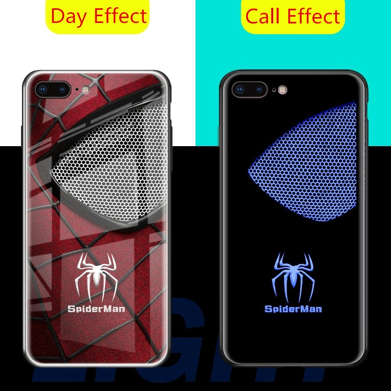 A la luz del Flash LED teléfono casos para iPhone XR XS Max X 10 8 7 6 6s Plus Marvel vengadores Spiderman Venom cubierta de vidrio templado