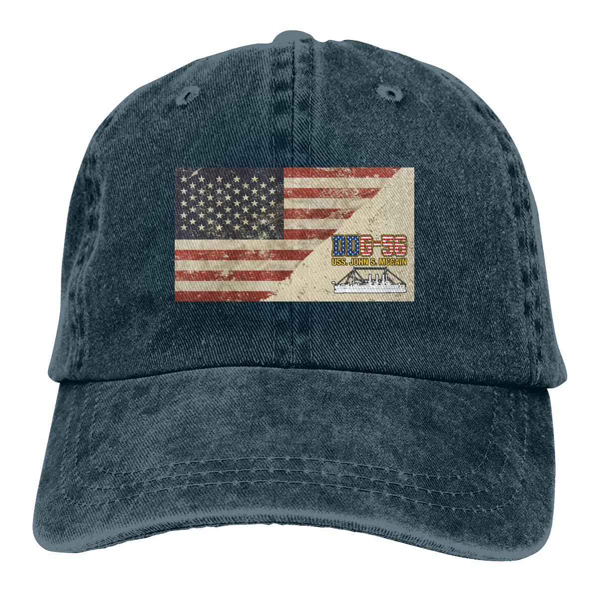 DDG-56 uss john s mccain denim chapéus boné de beisebol ajustável pai chapéus