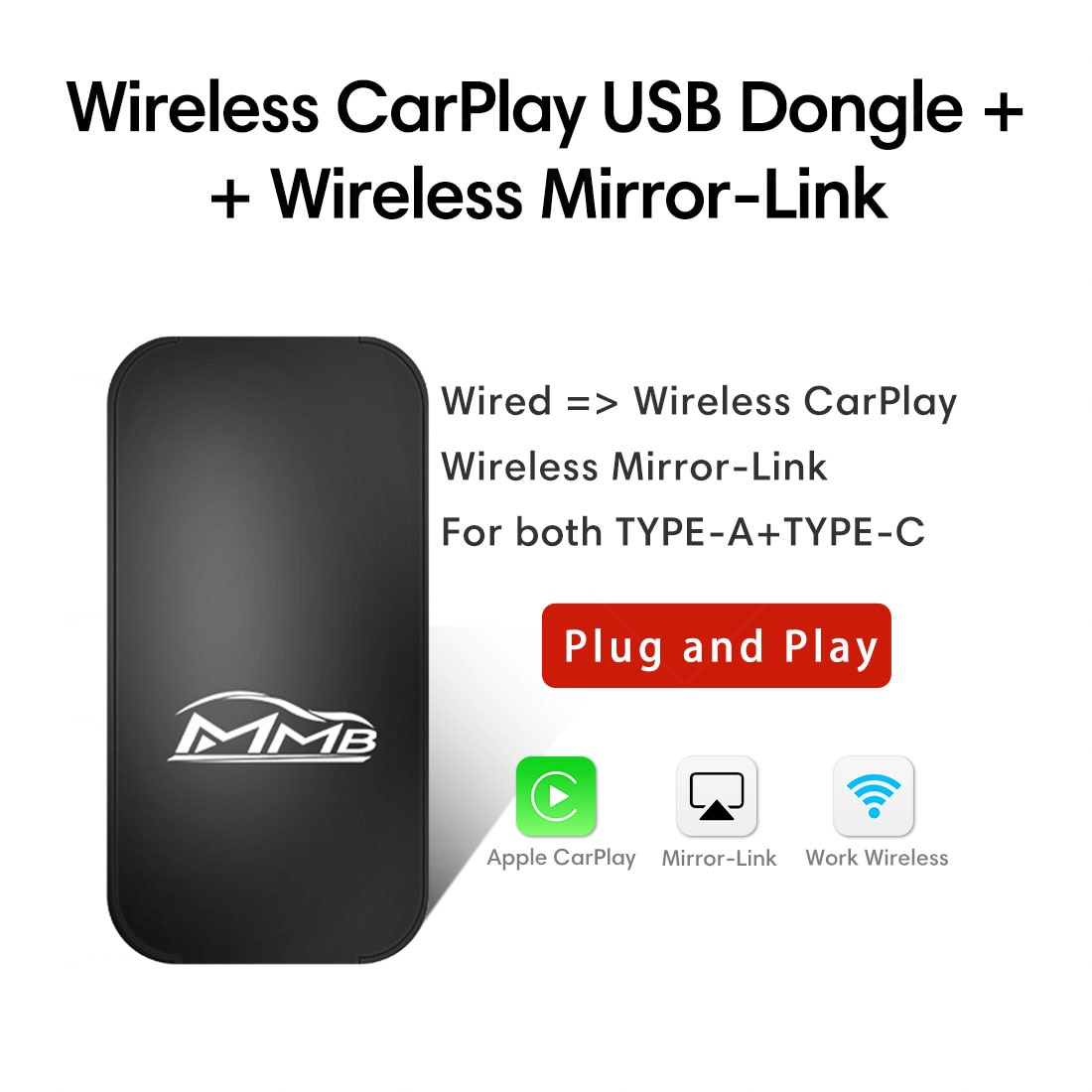 Review MMB USB Wireless Apple Carplay Smart Box AirPlay iOS Android Mirror link Video Player Multimedia Plug And Play Dongle Adapter