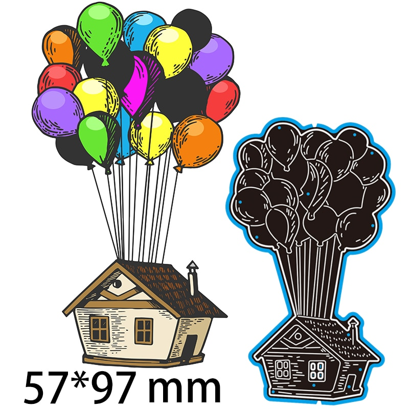 Cutting Dies Balloon and House Decorate  DIY Scrap Booking Photo Album Embossing Paper Cards 57*97mm