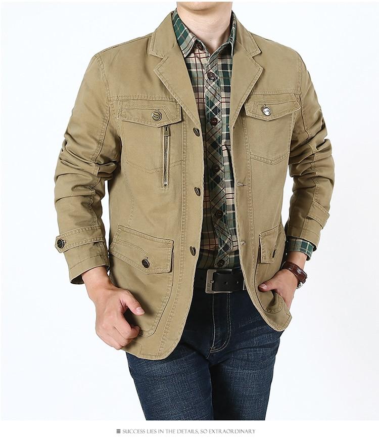 Куртка-блейзер мужская хлопковая, повседневный свободный пиджак в стиле милитари, с несколькими карманами, пальто в стиле кэжуал, большие р...