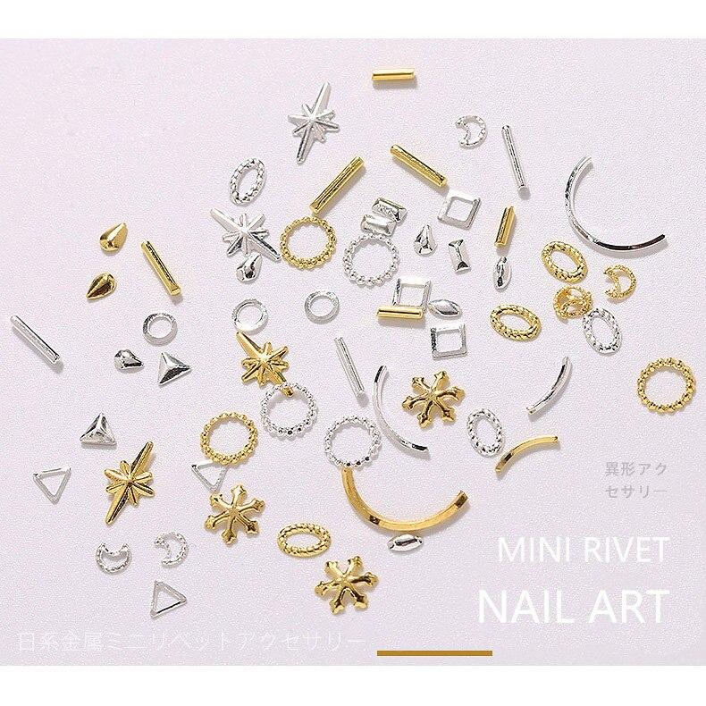 500 pçs/lote geométrico ouro pena seta folhas rebites studs metal manicure acessórios da arte do prego diy decoração do prego encantos 35-89