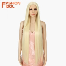 FASHION IDOL 38inch Straight Long Synthetic Wigs For Black Women High Temperature Hair Ombre 613 Red Cosplay Wigs Synthetic Hair