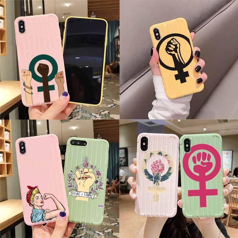 Punho feminista símbolo de vidro trole mala textura caso telefone para iphone 11 pro max x xs max 8 7 6 s plus