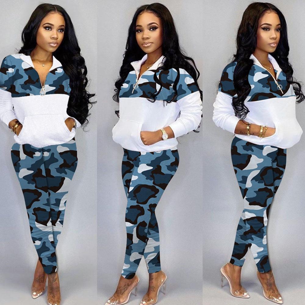 2020 primavera mujer chándal 2 piezas conjunto camuflaje estampado sudadera y pantalones traje ropa deportiva conjunto a juego entrenamiento Jogging Mujer