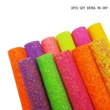 Tissu synthétique à paillettes de 22*30cm   Feuilles de Faux cuir A4, néon or, tissu à paillettes, nœud pour cheveux, accessoires bricolage