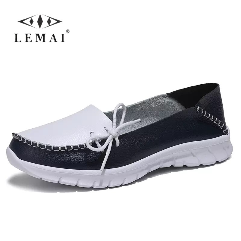LEMAI Women Summer Loafers Genuine Leather Handmade Flats Casual Shoes Woman Slip-on Ballet Flats Ladies Loafers Shoes 36-42