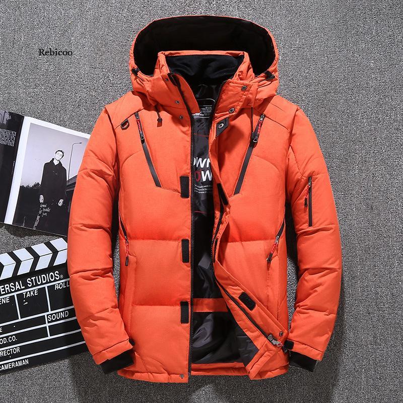 Повседневные зимние теплые куртки, Мужская одежда, куртка на белом утином пуху, парки, мужские утепленные пальто, Мужская ветровка для парки...