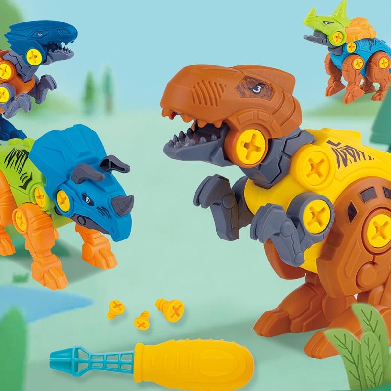 DIY disassembly assembly dinosaur toy set screw nut combination assembling dinosaur model educational toy for children kids gift