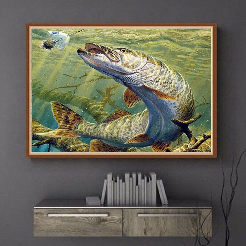 5D DIY алмазная живопись Пейзаж Рыбалка полная круглая Дрель Стразы Алмазная вышивка большая рыба крестиком инструмент для выкладывания мозаики