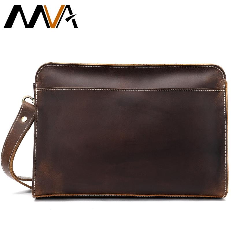 Accidente de los hombres bolso de embrague para hombres de cuero genuino de los hombres Cartera de embrague mano carteras largas Hombre con cremallera Vintage carteras para teléfono 2753