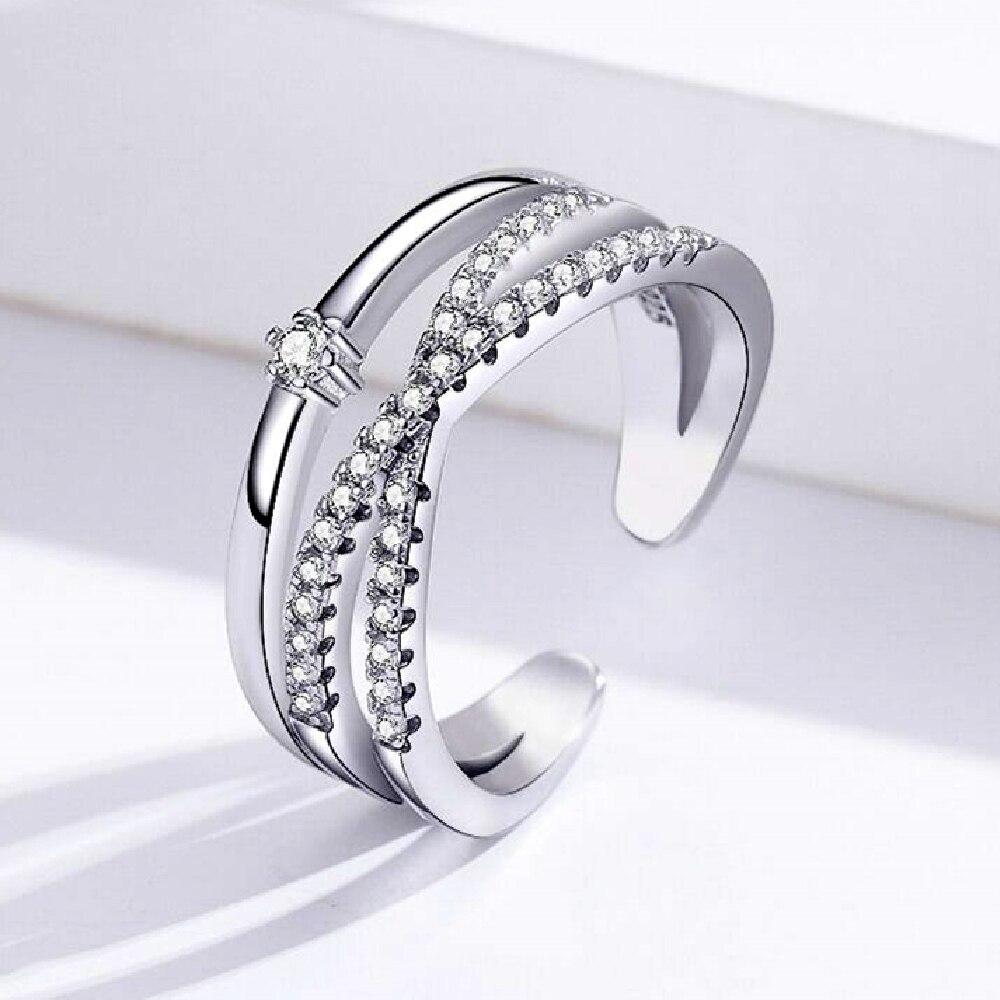 Cross Zircon Genuine 925 Sterling Silver Free Size Open Adjustable Finger Rings for Women Silver 925 Ring