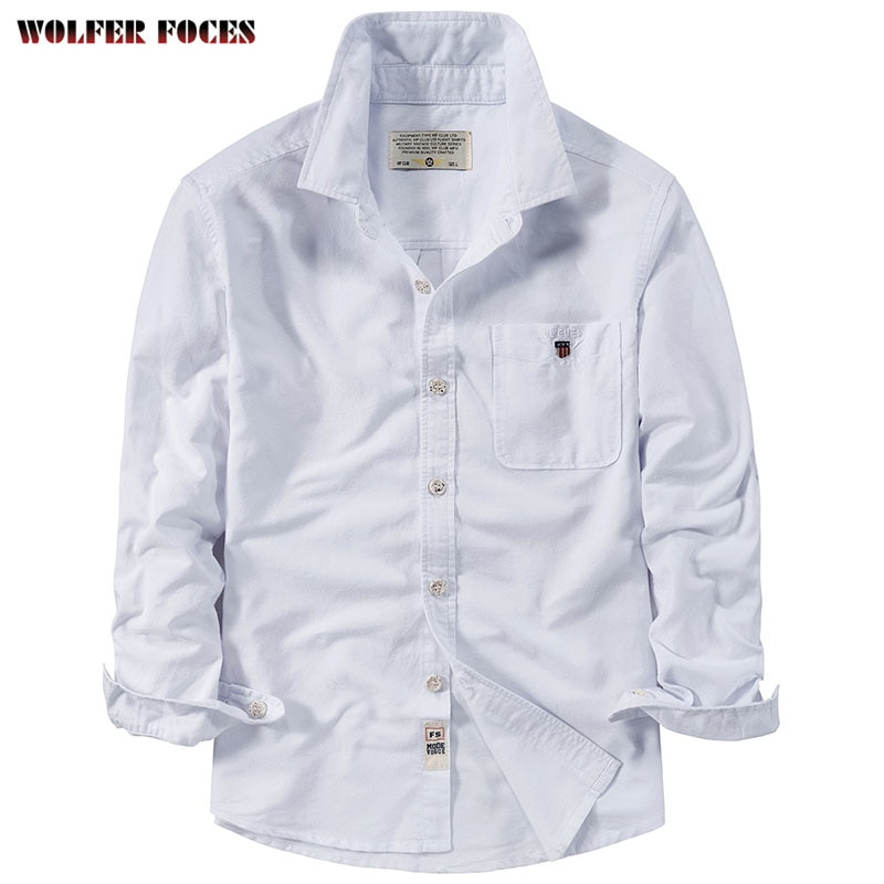 خريف جديد قميص طويل الأكمام الرجال الكورية سليم صالح الشباب أكسفورد الغزل قميص العمل غير الرسمي فضفاض أفضل 2021