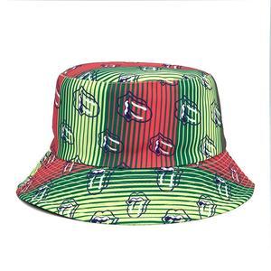 2021 Cotton four seasons Lips Print Bucket Hat Fisherman Hat Outdoor Travel Hat Sun Cap Hats for Men and Women 364