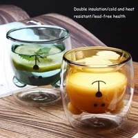 creative cartoon double glass bear cup home coffee juice milk cup drinking cup coffee cup insulated cup