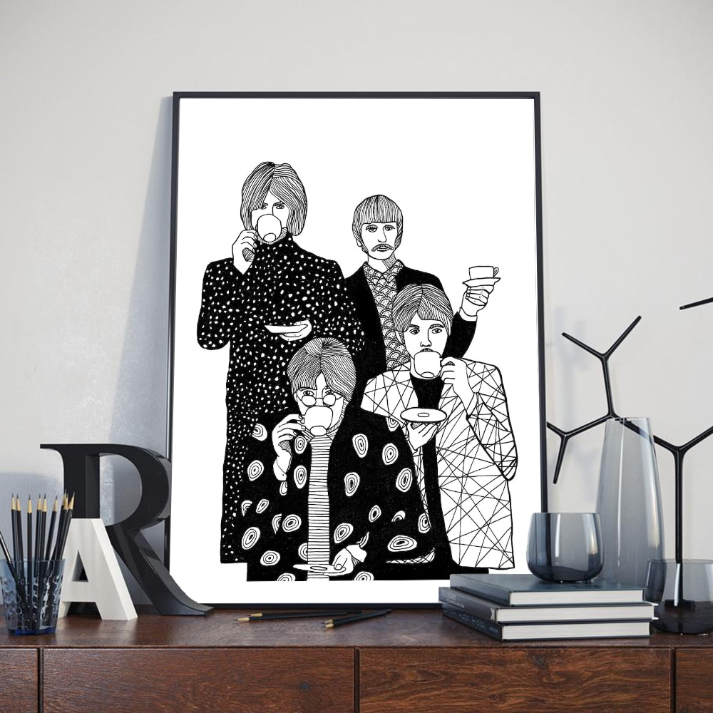 Nordic Abstract Drinking Tea Art Canvas Painting Posters And Prints Black White Four Man Wall Pictures For Living Room Decor