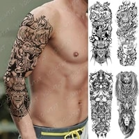 large arm sleeve tattoo dragon samurai waterproof temporary tatto sticker japanese buddha body art full fake tatoo men