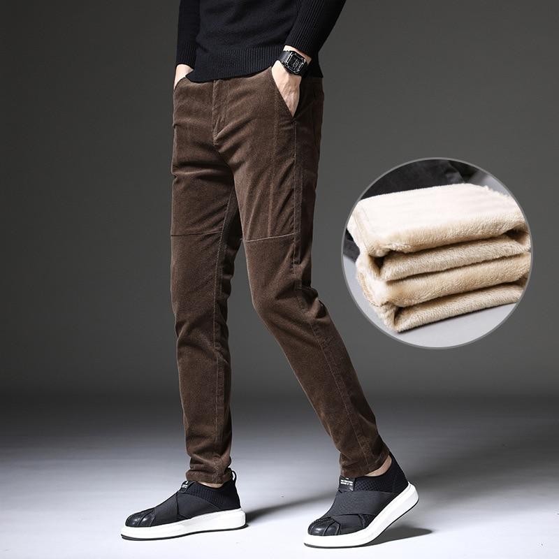 ICPANS franela terciopelo invierno Pantalones Hombre cálido Delgado grueso clásico Casual pantalones de pana hombre negro marrón 2020 nuevo