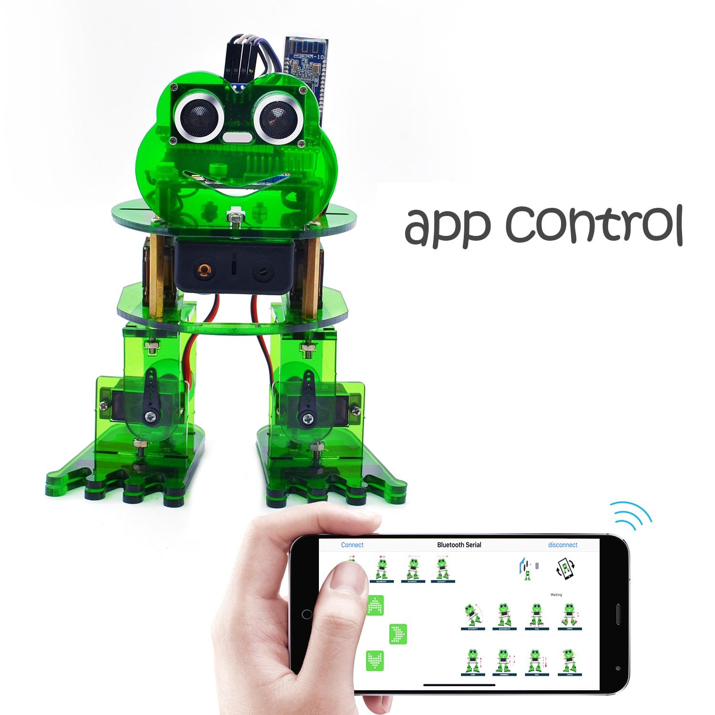 Keyestudio لتقوم بها بنفسك 4-dof روبوت عدة الضفدع روبوت لأردوينو سيارة روبوت عدة البرمجة الرسومية/دعم IOS و أندرويد APP التحكم
