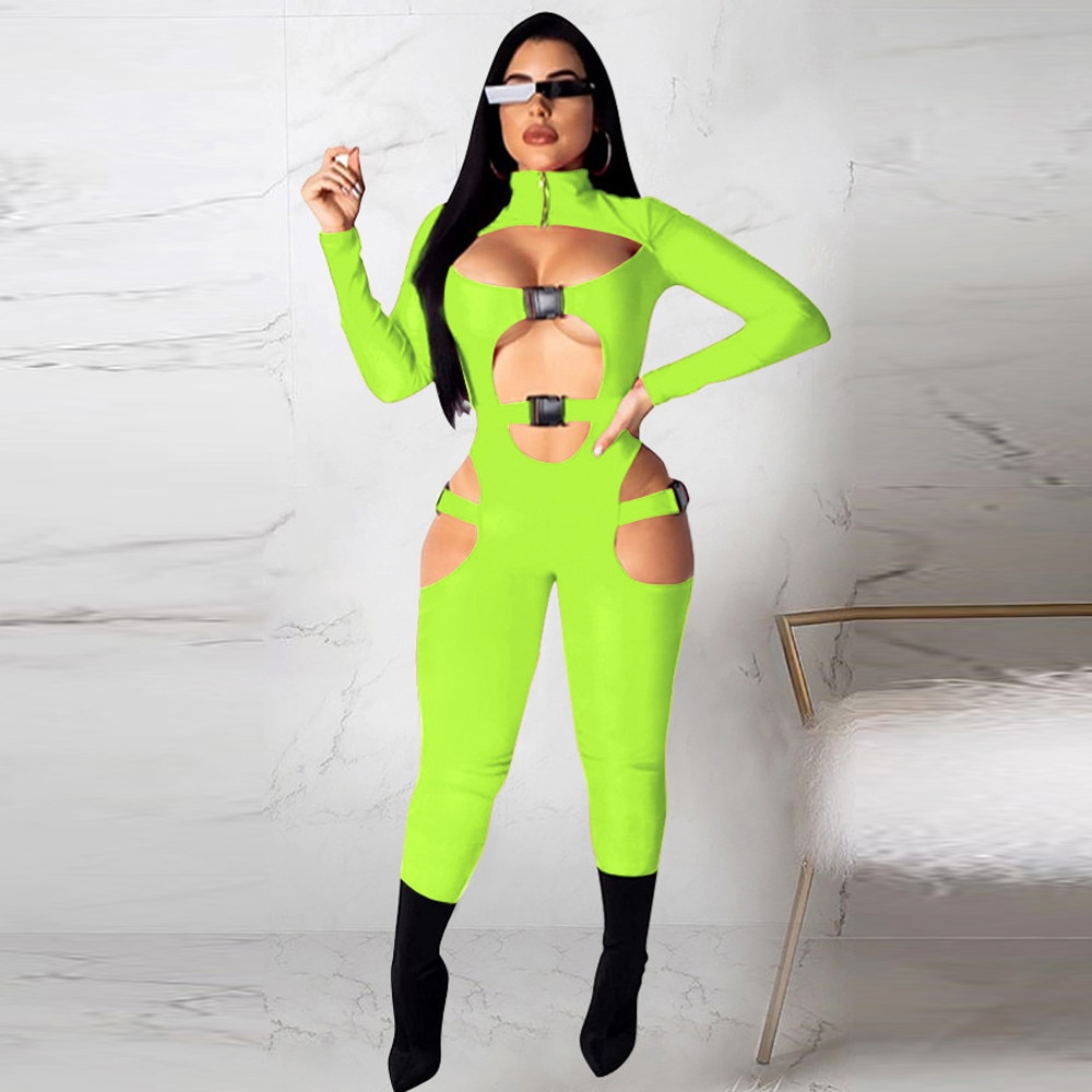 Bulk Items Wholesale Lots Moto & Biker Cut Out Bodycon Jumpsuit Casual Style High Necked Buckle Full Sleeve One Piece Rompers enlarge