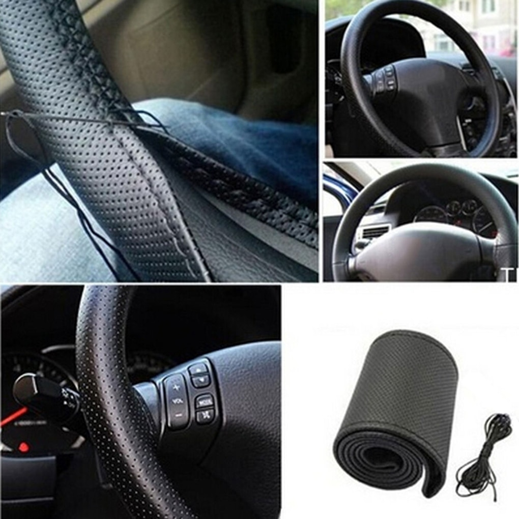 DIY Universal Car Truck PU Steering Wheel Cover With Needles and Thread Fit for 37-38cm Diameter