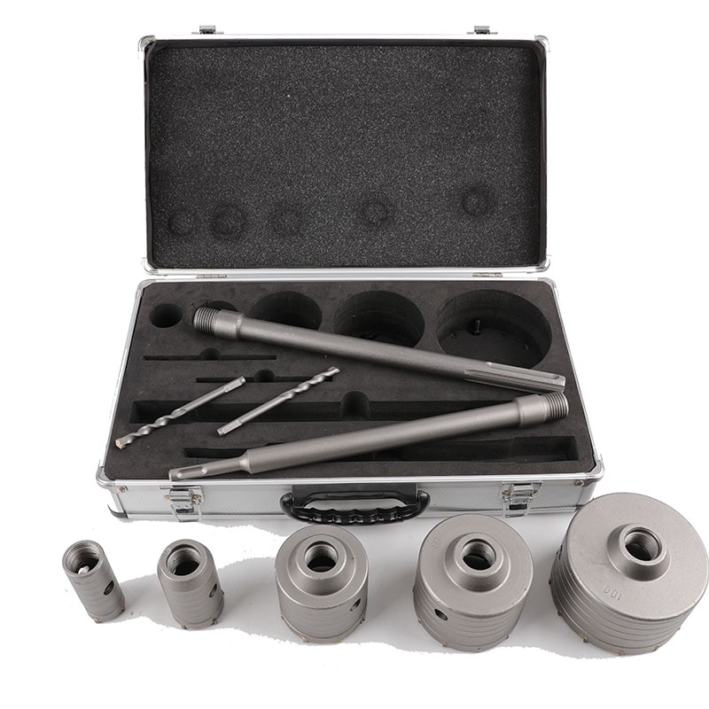 9PCS/Set Hollow Electric Hammer Drill Aluminum Box Set Alloy Brick Wall Drilsl Bit Range Hood Air Conditioner Punch Drill Set enlarge