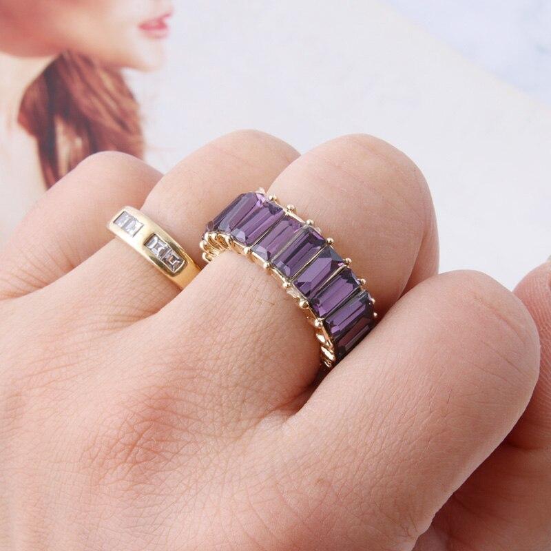 NeeFuWoFu anneaux mode anneau verre carré perceuse anneaux bohême de Madera Pulseira Estrela de Cinco Perles élastiques