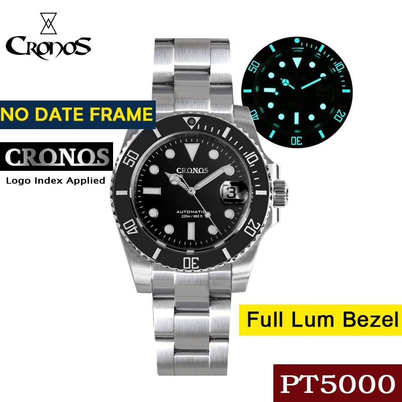 Cronos Diver Luxury Men Watch Stainless Steel PT5000 Bracelet Ceramic Rotating Bezel 200 meters Wate