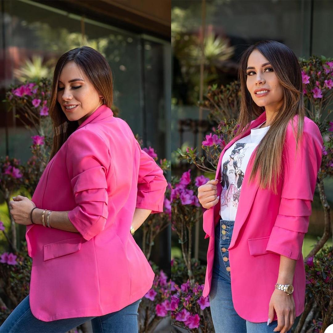 بدلة للسيدات باللون الأحمر الوردي بدلة للعمل المكتبي للنساء جاكيت للعمل للحفلات المسائية سترة للحفلات الراقصة بدلة للزفاف قطعة واحدة