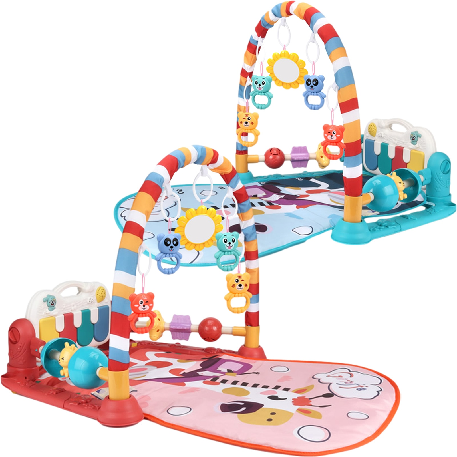 infant baby flying chess waterproof play mat early learning toy fitness bodybuilding frame crawling mat kick play lay sit toy New Baby Play Mat With Music & Lights Educational Rack Toys Kick Play Piano Activity Gym Infant Playmat Crawling Game Pad Toy