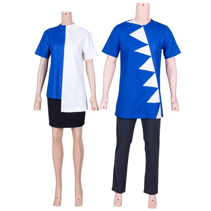 В наличии африканская одежда для пар, топы с коротким рукавом для мужчин и женщин, летняя синяя и белая одежда в африканском стиле для вечери...