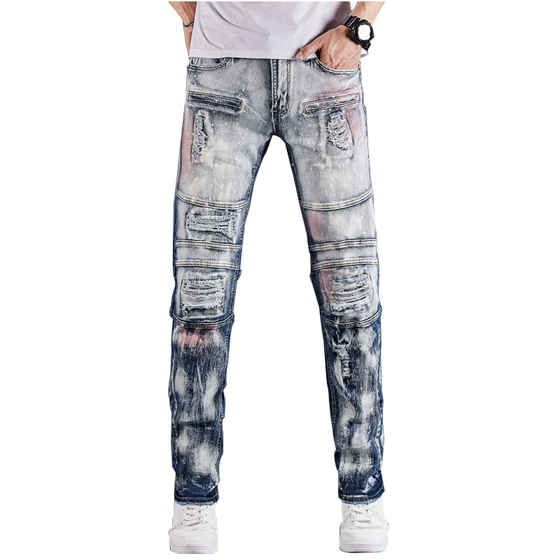 MORUANCLE-بنطلون جينز رجالي ممزق ، بنطلون جينز ممزق عالي الجودة ، ملابس الشارع ، ملون ، مع ثقوب