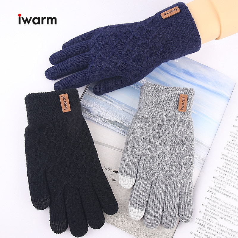 Men's Cashmere Knitted Winter Gloves Warm Thick Touch Screen Gloves Solid Mittens for Mobile Phone T