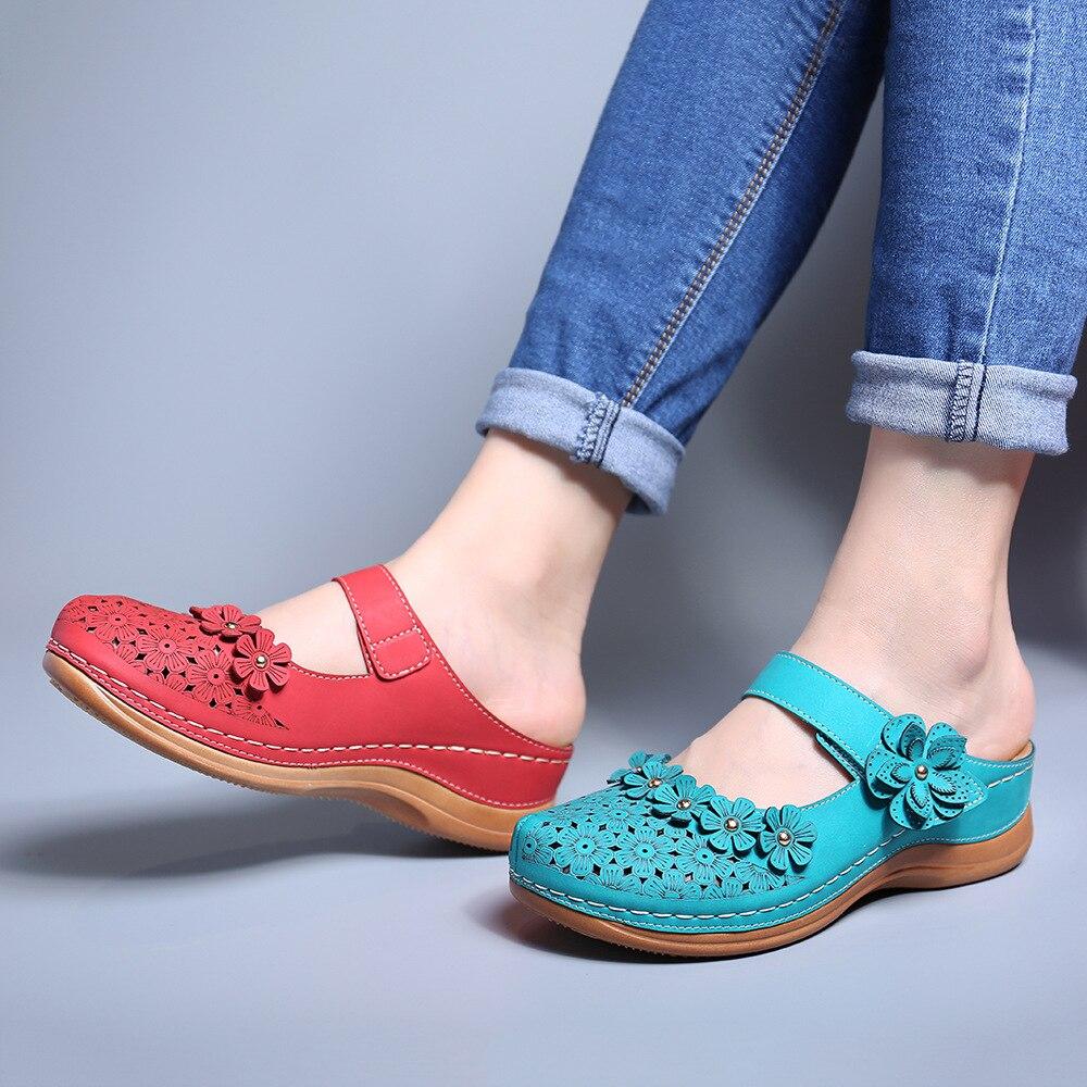 Sandalias de mujer WENYUJH, verano 2020, zapatos de mujer hechos a mano, sandalias de cuero con flores, zapatos planos de estilo Retro para mujer